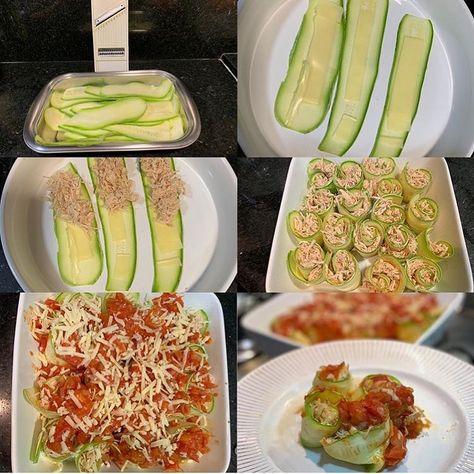 Diet lowcarbdietmeals lowcarbdietbreakfast Enroladinho de abobrinha RECEITA: Fatie a abobrinha. Adicione o queijo e o frango desfiado. Adicione o molho de tomate e o queijo ralado.