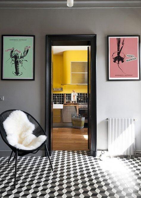 Decoration Des Annees 50 Avec Tableaux Retro Et Carrelage Sol