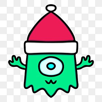 Alien Character With Santa Hat Illustration For Christmas Merchandise Illustration Winter Christmas Png And Vector With Transparent Background For Free Downl Christmas Illustration Alien Character Illustration