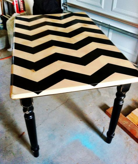 Chevron DIY table. Ha! We have this exact table! A sign that I must do this!!!