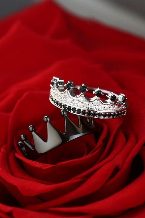 Princess Crown Rings 925 Sterling Silver Black Series For Couples #SterlingSilverDress