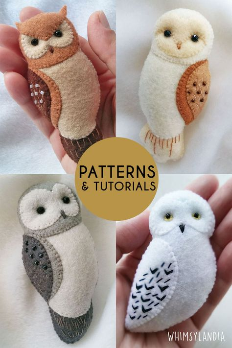 BUY 3 GET 1 FREE Special Owls Patterns Set for Making Brooches, Ornaments, Baby Mobiles Get creative with this special set of owl patterns from Whimsylandia! It comes with fully illustrated, easy to f Felt Animal Patterns, Felt Crafts Patterns, Owl Patterns, Stuffed Animal Patterns, Fabric Crafts, Felt Patterns Free, Free Pattern, Felt Owl Pattern, Felt Ornaments Patterns