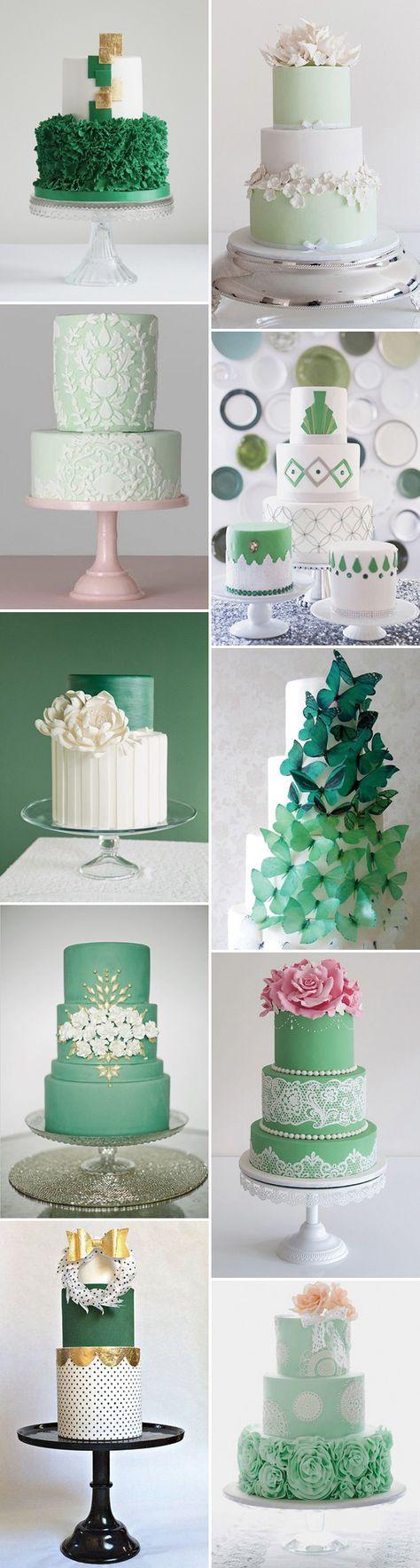 Gorgeous green wedding cake inspiration on www.onefabday.com