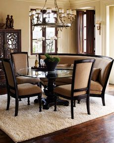 Curved Bench Around Round Table . Interesting . Ashton Dining Collection  From Horchow | ITD 253 | Pinterest | Zimmerman, Dining Furniture And Side  Chair