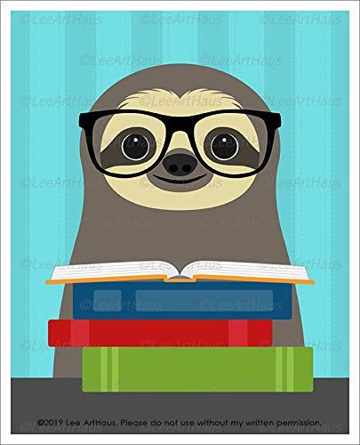95j Sloth Reading Stack Of Books Unframed Wall Art Prin Https Www Amazon Com Dp B07xnfy9fy Ref Cm Sw R Pi Dp X Asnjdb Cute Sloth Sloth Unframed Wall Art