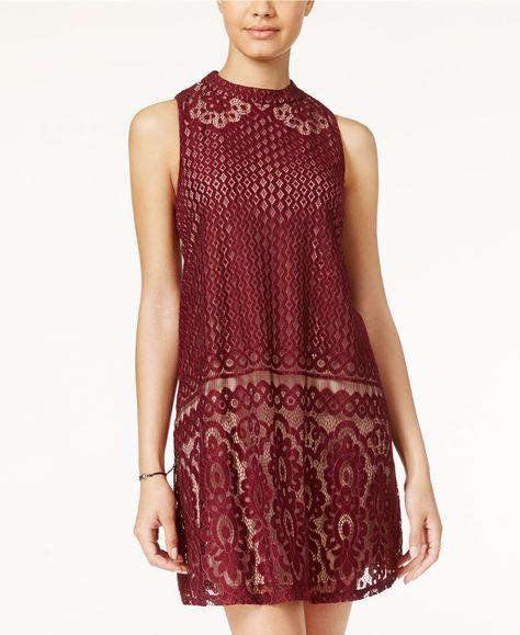 7e28bdea8 American Rag Lace Mock-Neck Shift Dress, Only at Macy's - Juniors Dresses -  Macy's