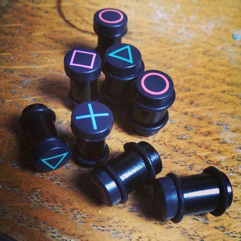 Custom Playstation Large Gauge Earrings/Plugs - Made to Order - 6mm, 8mm, 10mm.  Full Set or Pair. on Etsy, $23.26