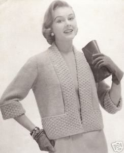 Vintage Knitting PATTERN to make Designer Short Jacket Shortie TuxedoCollar
