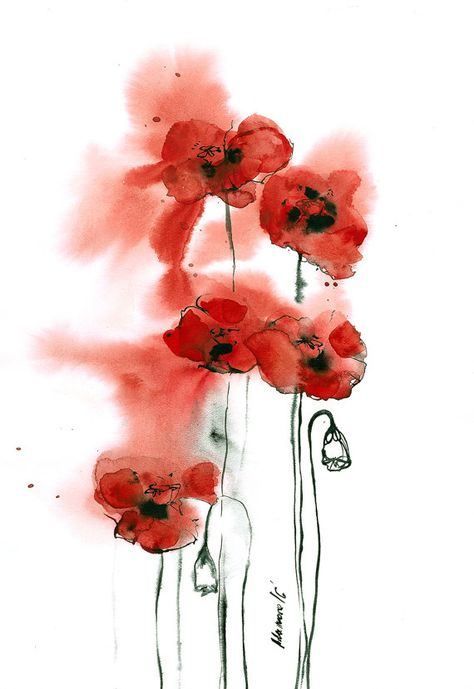 Poppies Abstract Watercolor Painting Original Contemporary Red