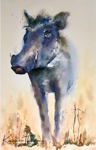 WARTHOG 11x14  art print animals impressionism artist