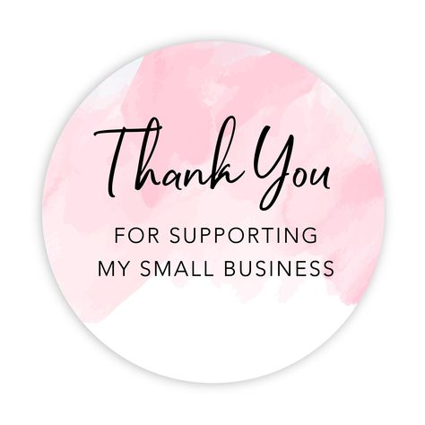 Round Small Business Sticker Labels 120-Pack - Watercolor Pink Thank You for Supporting My Small Business