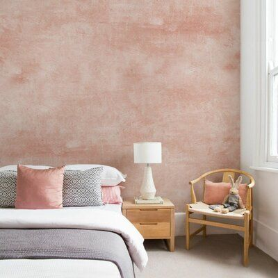 17 Stories Allon Venetian Plaster Faux Peel And Stick Paintable 4 Piece Wall Mural Color Pink Size 9 In 2021 Accent Wall Bedroom Venetian Plaster Walls Bedroom Wall