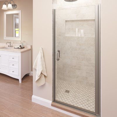 Basco Infinity 34 X 65 56 Pivot Semi Frameless Shower Door Finish Brushed Nickel Glass Type Clear Shower Doors Glass Shower Enclosures