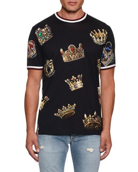 Schatz als seltenes Gut großes Sortiment super beliebt Dolce & Gabbana Mens Crowns T-Shirt | Clothing in 2019 ...