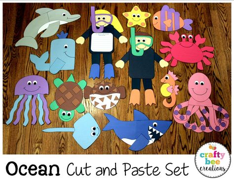 Animals Crafts Bundle These fun cut and paste patterns are a great addition to any ocean unit. Just print, cut, and glue!These fun cut and paste patterns are a great addition to any ocean unit. Just print, cut, and glue!