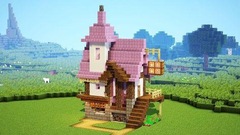 How to build a Alchemist's House in minecraft. Easy minecraft building system with house. Minecraft easy A. Minecraft Farmen, Minecraft Mobile, Minecraft Villa, Minecraft Shops, Minecraft Cottage, Minecraft Building Guide, Cute Minecraft Houses, Minecraft Mansion, Amazing Minecraft