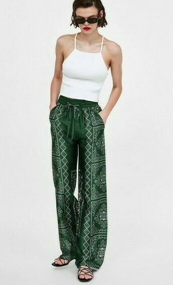ZARA FLORAL PRINT LOOSE FIT TROUSERS PALAZZO SIZE XS M