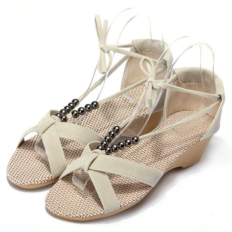 fc3cfe33d121d Flat Heel Casual Beaded Lacing Gladiator Small Wedges Shoes