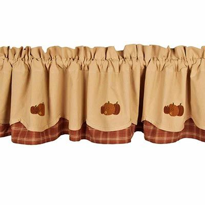 Seasonal fall decor Thanksgiving window valance Window fashions Farmhouse style curtains