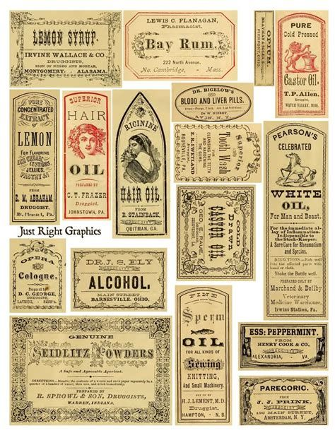Free Junk Journal Vintage Printables Apothecary Labels Collage Sheet Vintage Labels