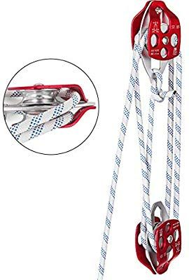 Amazon Com Mophorn Twin Sheave Block And Tackle 0 43 0 5inch 100 200ft Twin Sheave Block With Braid Rope 30 35kn 660 Block Tackle Construction Tools Pulley