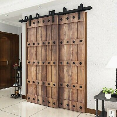 Diyhd Rustic Black Bypass Double Sliding Barn Door Hardware Bypass Kit Ebay In 2020 Double Sliding Barn Doors Sliding Barn Door Hardware Barn Door
