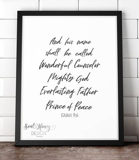 Downloadable Prints | Wonderful Counselor Mighty God Everlasting Father Prince of Peace | Isaiah | Christmas Christian | Printable
