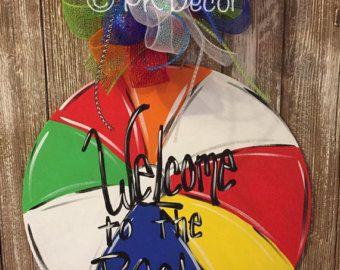 Beach Ball Door Sign Beach Ball Door Hanger Beach Ball Party Decorations