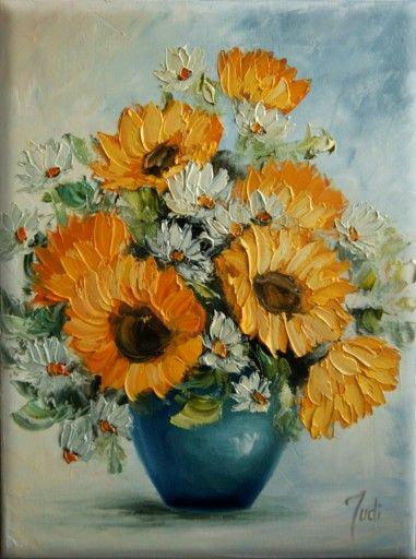 Judiart Obraz Olejny Kwiaty Sloneczniki Flower Art Painting Sunflower Painting Flower Painting