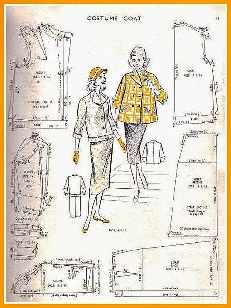 1950s Vintage VOGUE Sewing Pattern B38 COAT (1387) #Vogue