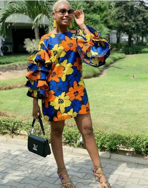African print Mini dress with flare sleeves/Ankara/African Clothing/African Fashion/Ankara Clothing/