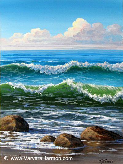 Ocean Waves With Acrylic Painting Ocean Waves Seascape Paintings Ocean Painting Beach Painting