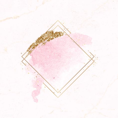 Download Premium Vector Of Gold Rhombus Frame On Pink Watercolor
