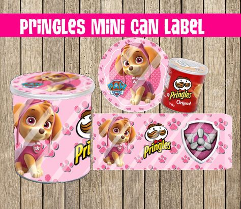 Paw Patrol Skye Pringles Mini Can Label Party Favor Supplies Birthday Decoration Ideas