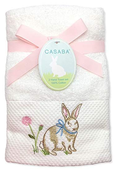 Amazon Com Casaba Embroidered Easter Bunny Spring Hand Towel Set