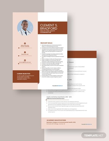 Health And Safety Coordinator Resume Cv Template Pdf Word Apple Pages Health And Safety Resume Template Resume Template Free