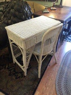 Small White Wicker Desk/Vanity U0026 Chair W/ Draw | 244 Fenner Hill Road |  Pinterest | Vanities, Desks And Dressing Room