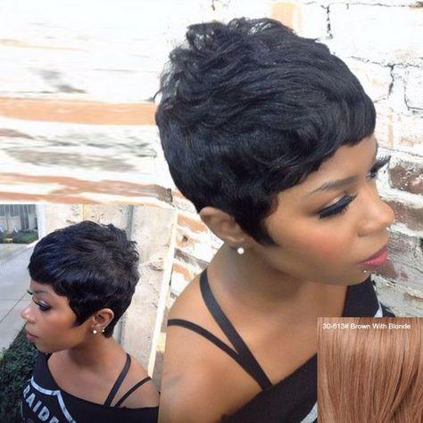 Fashion Neat Bang Short Bouffant Women's Human Hair Wig - Brown With Blonde Mobile
