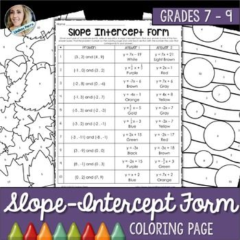 Slope Intercept Form Coloring Activity Color Activities Activities