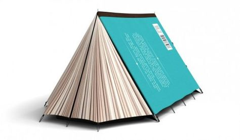 This is an actual tent.  That looks like a book.   Camping and reading... two of my favorite things combined!