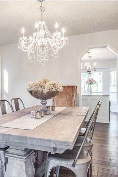 Crystal Chandelier In Modern Farmhouse Dining Room Chandelier Modern Farmhouse Dining Rooms Decor Modern Farmhouse Dining Room