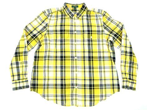 e1c1e90e Ralph Lauren Jeans Co Womens Shirt Size XL Long Sleeve Yellow Black Plaid  Cotton #LaurenRalphLauren #ButtonDownShirt #Casual