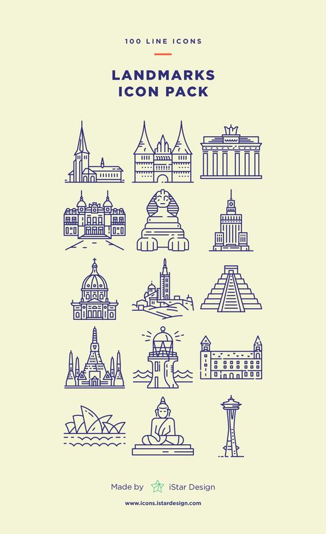 Download Landmarks Line Icons Set made by iStar Design