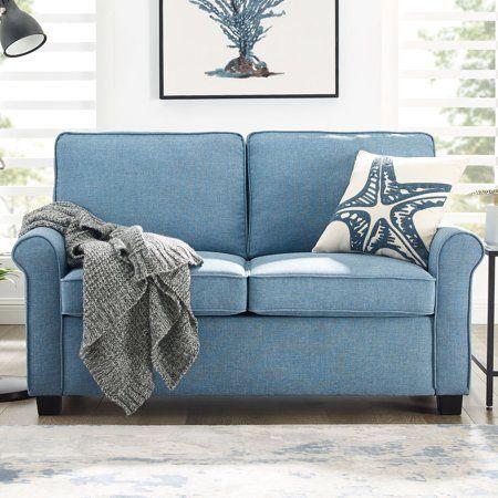 Mainstays Traditional Loveseat Sleeper With Memory Foam Mattress Light Blue Walmart Com Loveseat Sleeper Love Seat Traditional Loveseat