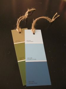 paint swatch bookmarks  I love paint swatches!!  Another great idea.  I think my co-workers would appreciate a Christmas gift like this from me. lol