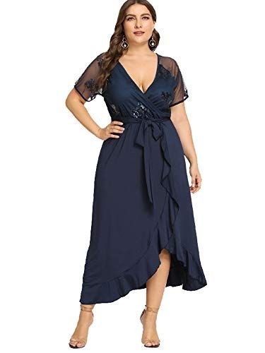 6af6f78cdf38c ESPRLIA Women's Empire Waist Plus Size Midi Dress (Blue, 14W) | 500 ...