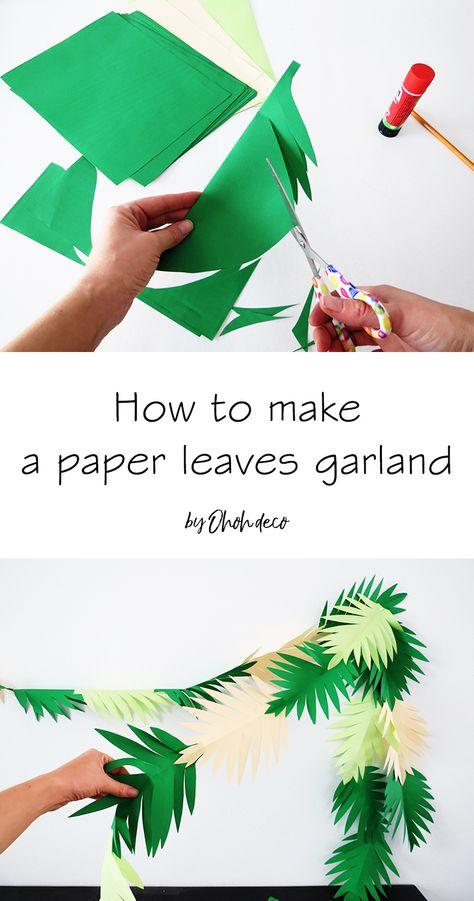 Make a paper leaves garland in 30 minutesYou can find Jungle party and more on our website.Make a paper leaves garland in 30 minutes Diy Party Decorations, Paper Decorations, Hawaiian Theme Party Decorations, Paper Garlands, Paper Leaves, Paper Flowers, Jungle Theme Birthday, Jungle Theme Crafts, Jungle Book Party