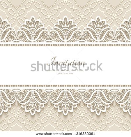 Invitation Card With Lace OrnamentVintage Gold Lace On White