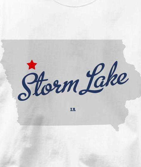 Storm Lake Iowa Ia Map Souvenir T Shirt All Sizes Colors Fashion
