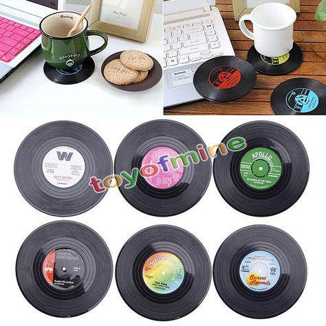 Quantity 1set 6pcs Retro Vinyl Record Drinks Coasters You Spin
